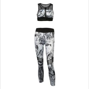 Wholesale Sexy 2PCS Women Fitness Sets Leggings and Sports Bra Mesh Patchwork Workout Clothing pictures & photos