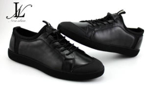 Low Top Black Leather Sports Shoes (CAS-055) pictures & photos
