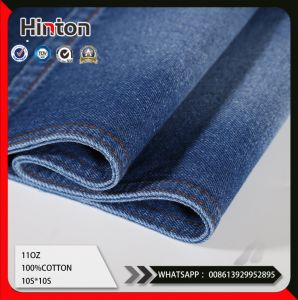 11oz Dark Blue Twill 100%Cotton Desizing Denim Jeans Fabric pictures & photos