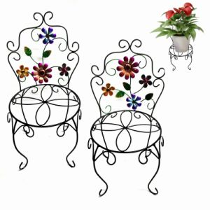 Handmade Metal Chair Flowerpot Stand Craft with Flower Garden Decoration