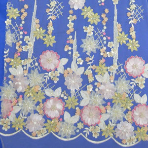 1.35 Width Multicolor 3D Floral Wedding Lace Factory in Guangzhou, China