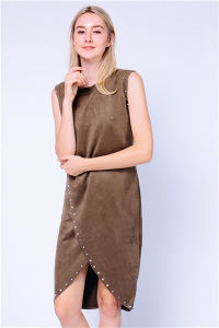 Suede Studded Wrap Office MIDI Dress pictures & photos