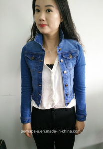 High-End Ladies Denim Jacket with Custom Label pictures & photos