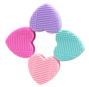 silicone makeup brush cleaner. heart shaped silicone makeup brush cleaner and holder display stand for