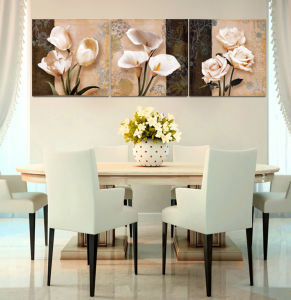 3 Piece Hot Sell Modern Wall Painting Home Decorative Wall Art Picture Painted on Canvas Flowers Painting with Framed Mc-198 pictures & photos