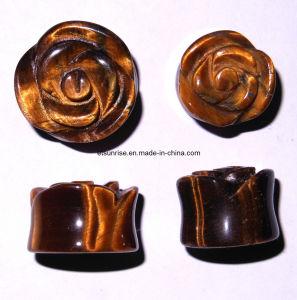 Semi Precious Stone Natual Crystal Tiger Eye Jewelry Earplugs <Esb01906> pictures & photos