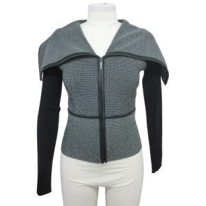 Ladies Knitting Cowl Neck Zipper Cardigan Sweater