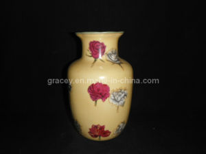 Enameled Decorative Ceramic Vase, Hand Painted Grazed Ceramic Lotus Mouth Jar (FY0770)