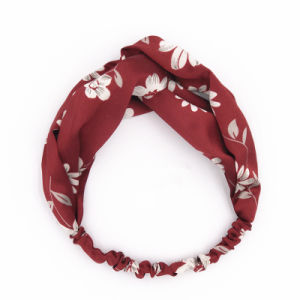 Satin Solid Women Cross Elastic Hairband Sweet Flowers Headband Lotus Headwrap Knotted Band Hair Accessories pictures & photos