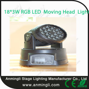 18*3W RGB LED Mini Moving Head Wash Light