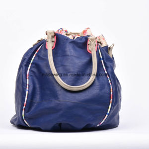 Alibaba China Supply Blue PU Leather Bucket Bag Tessel Bag Drawsting Bag pictures & photos
