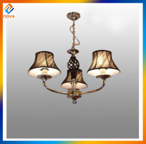 Metal Stained Gold with Fashion Fabric Shade Pendant LED Chandeliers pictures & photos