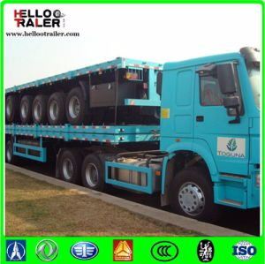 China 13m Tri Axle Flatbed Semi Trailer / 48 FT Container Semi Trailer pictures & photos