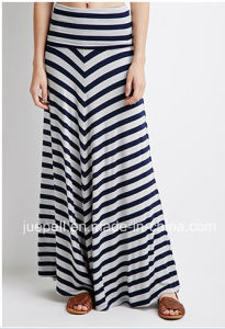 Fashion Striped Fold-Over Raw-Cut Hem Long Maxi Skirt pictures & photos