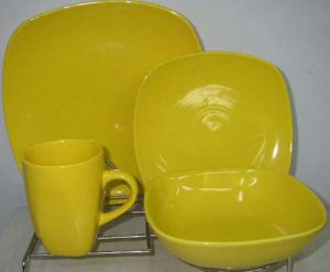 16PCS Yellow Color Square Shape Dinner Set