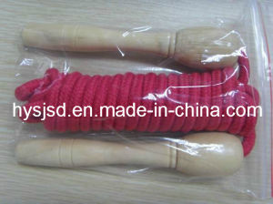Hot Style Dark Red Jump Rope with Wooden Handles pictures & photos