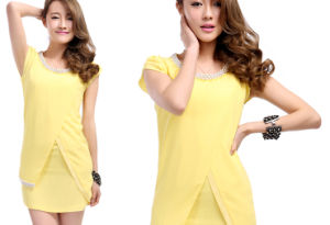 2014 Fashion Beige Short Sleeve Bead Dress (XYD-350)