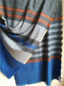 100%Cashmere Woven Striped Shawl Xc09017-2# pictures & photos