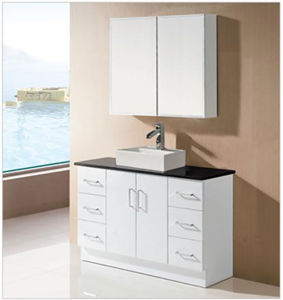 Bathroom White MDF Wooden Bathroom Cabinet Vanity with Bathroom Mirrors (SK17-1200W) pictures & photos