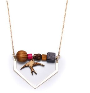 Fashion Jewelry Lady Necklace with Oval Wood Element Pendant pictures & photos