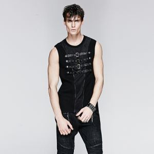 Punk Rave Summer Mens Steampunk Leather Sleeveless T-Shirt Vest (T-394) pictures & photos