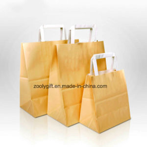 Durable Kraft Paper Shopping Bag with Flap Paper Handle pictures & photos