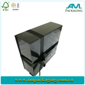 Luxury with Ribbon Magnetic Matt Black Paper Box pictures & photos