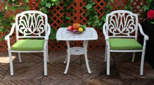 Best Choice Products Outdoor Patio Furniture Cast Aluminum Bistro Set in Cream White (2+1) pictures & photos