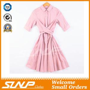 Cotton Pure Color Ladies Shirt Dress pictures & photos