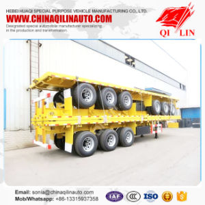 40FT 3axle Flatbed Semi Trailer (carry 1*40´ , 2*20´ & 1*20´ container) pictures & photos