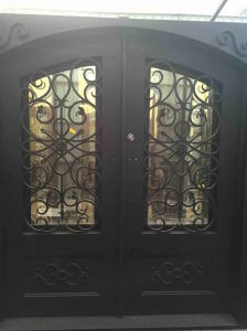 Double Entry Wrought Iron Door with Eyebrow Top pictures & photos