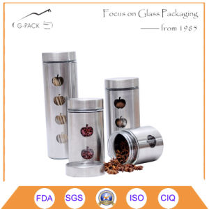 Kitchen Canister with Stainless Steel Cover and Cap pictures & photos