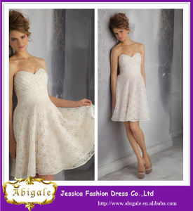 2014 Mini Sexy Elegant Ivory Lace Cocktail Dresses pictures & photos