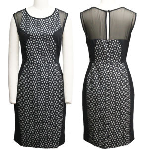 Latest Ladies Black Geometric Printed Sheath Dress (V-013)