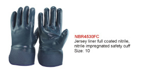 Jersey and Terry Liner Full Coated Nitrile Gloves