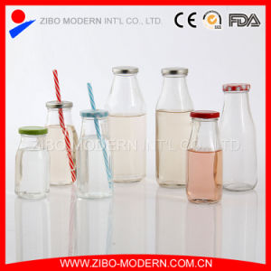 Wholesale Clear Fresh Milk Glass Bottle with Screw Cap pictures & photos