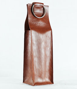 Brown Glossy Leather Wine Packaging Bag pictures & photos