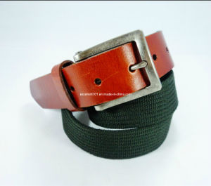 Fashionable Canvas Belt with Full Grain Leather (EUBL0284-35)