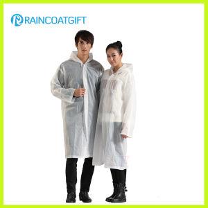 White Long Sleeve Unisex PE Raincoat pictures & photos