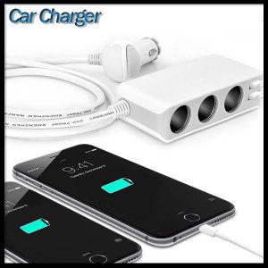 4 USB Port 6.8A and 3 Cigarette Lighter Hub Socket Quad Outlets 12V~24V Adapter Car Charger pictures & photos