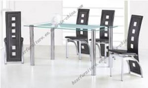 Frosted Tempered Glass Chromed Surface Dining Table (ST-5190)