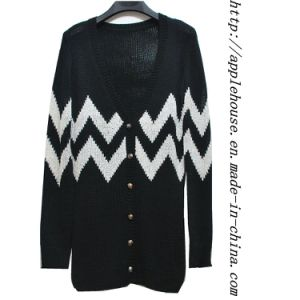 Ladie′s Sequins Cardigan Sweater with Wave Jacquard
