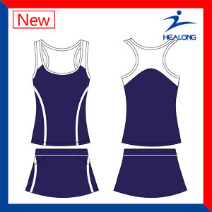 Sets of Ladies Cheap Sublimation Tennis Clothing Vest with Skirt pictures & photos