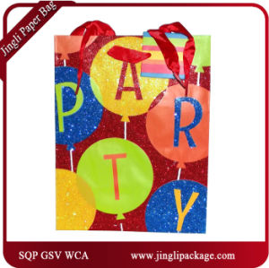 Birthday Carrying Paper Carry Bags Hologram Printing Gift Bags with Hang Tag pictures & photos