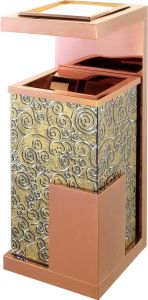 Luxury Stainless Steel Dustbin with Gold and Black Color pictures & photos