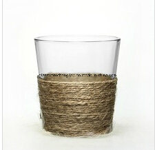 Jute Wrapped Clear Drinking Glass Cup (B-C012) pictures & photos