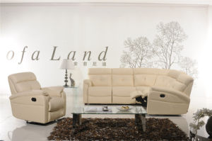 Beige Color Leather Sofa Bed with Mattress pictures & photos