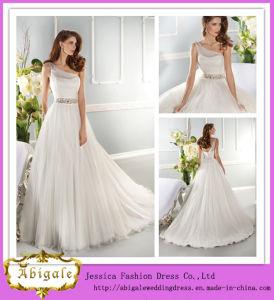 Newest Style White Full Length A Line One Shoulder Sleeveless Beaded Wedding Dress Sharara