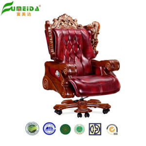 Swivel Executive Leather Office Chair with Solid Wood Foot (FY1303) pictures & photos