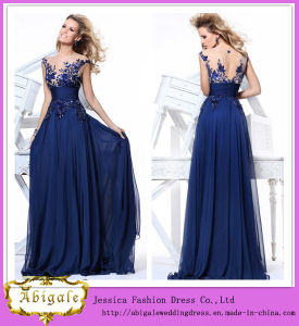 Best Selling Brand Name Floor Length A-Line Scoop Neck Keyhole Back Blue Designer Evening Dresses (WD69)